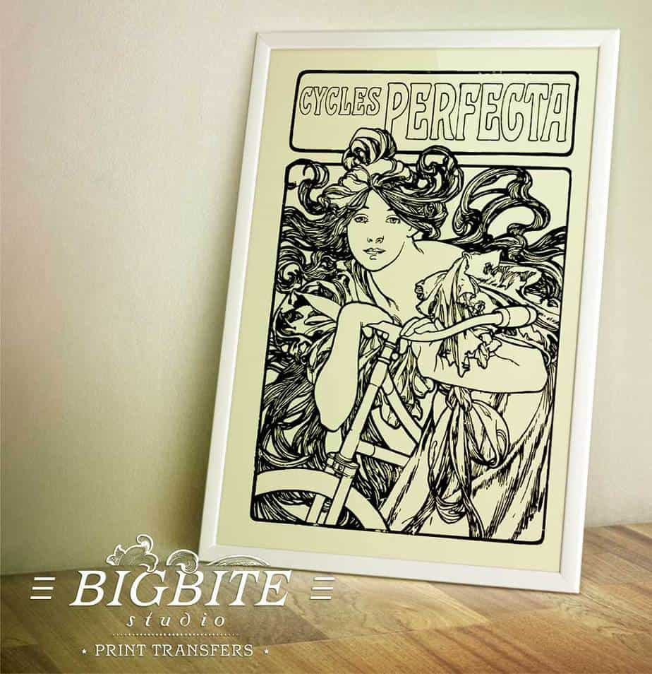 Art Nouveau Stencil - Cycles Perfecta Alphonse Mucha - preview in a frame
