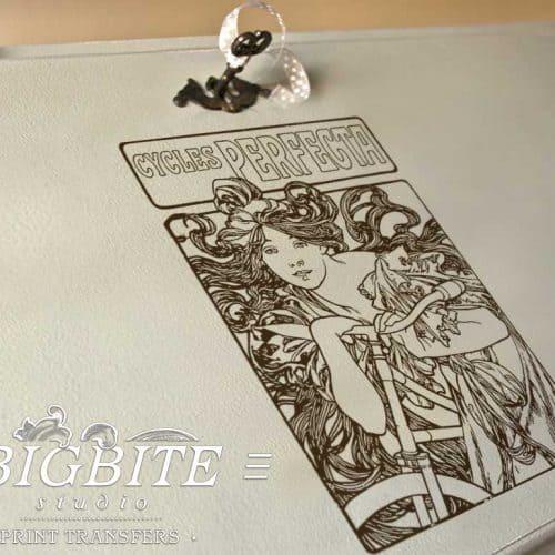 Art Nouveau Stencil - Cycles Perfecta Alphonse Mucha - preview on a bureau slope