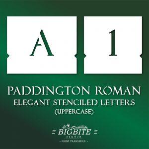 Elegant Stenciled Letters – Font Paddington Roman Uppercase #069