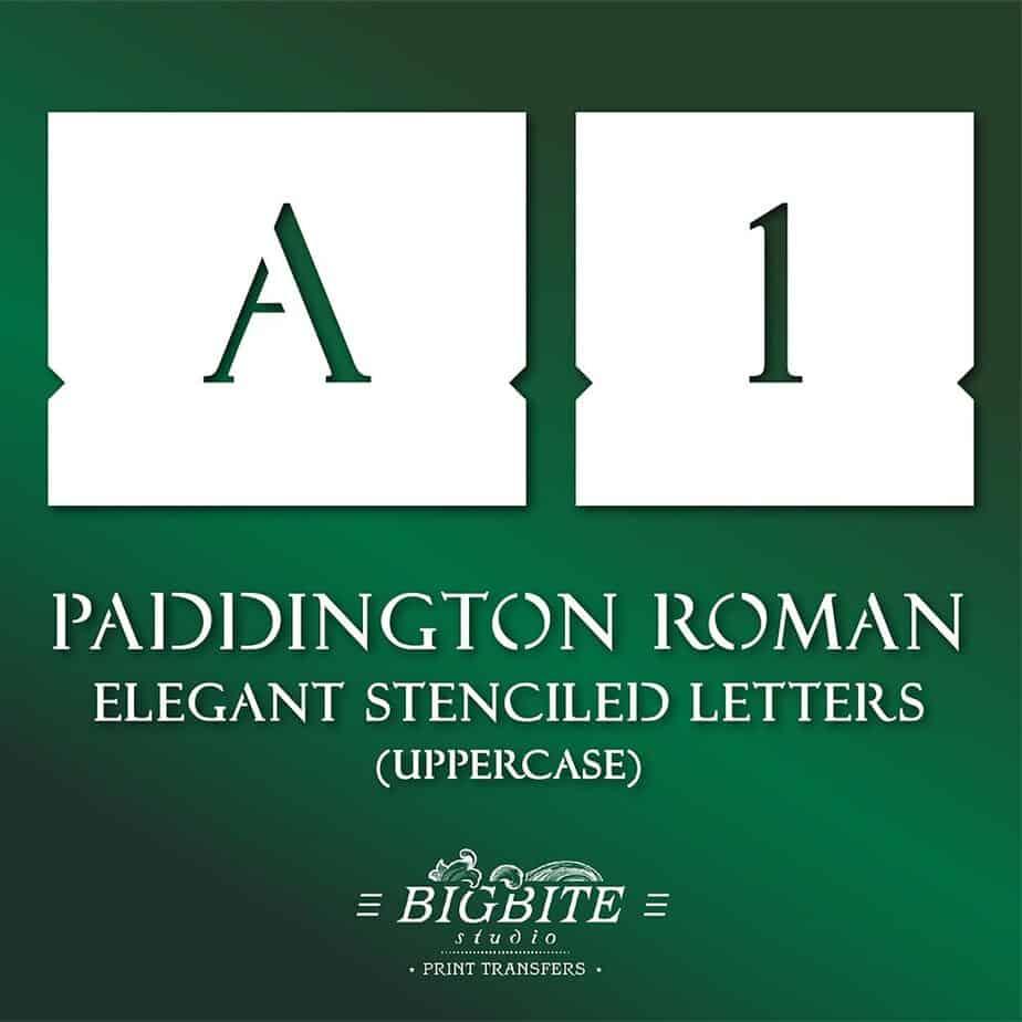 Elegant Stenciled Letters Font Paddington Roman Uppercase 069