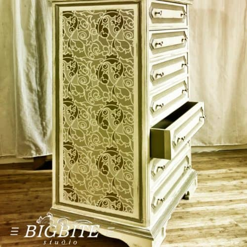 Acanthus abstract floral pattern stencil - preview on the tall boy