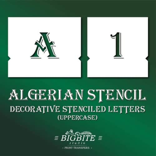 Algerian Stencil Decorative Letters Set UPPERCASE preview on green background
