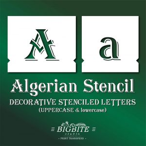 Algerian Stencil Font – lowercase & UPPERCASE Vintage Lettering #073