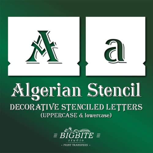 Algerian Stencil Font - lowercase and UPPERCASE Vintage Lettering - Main Preview