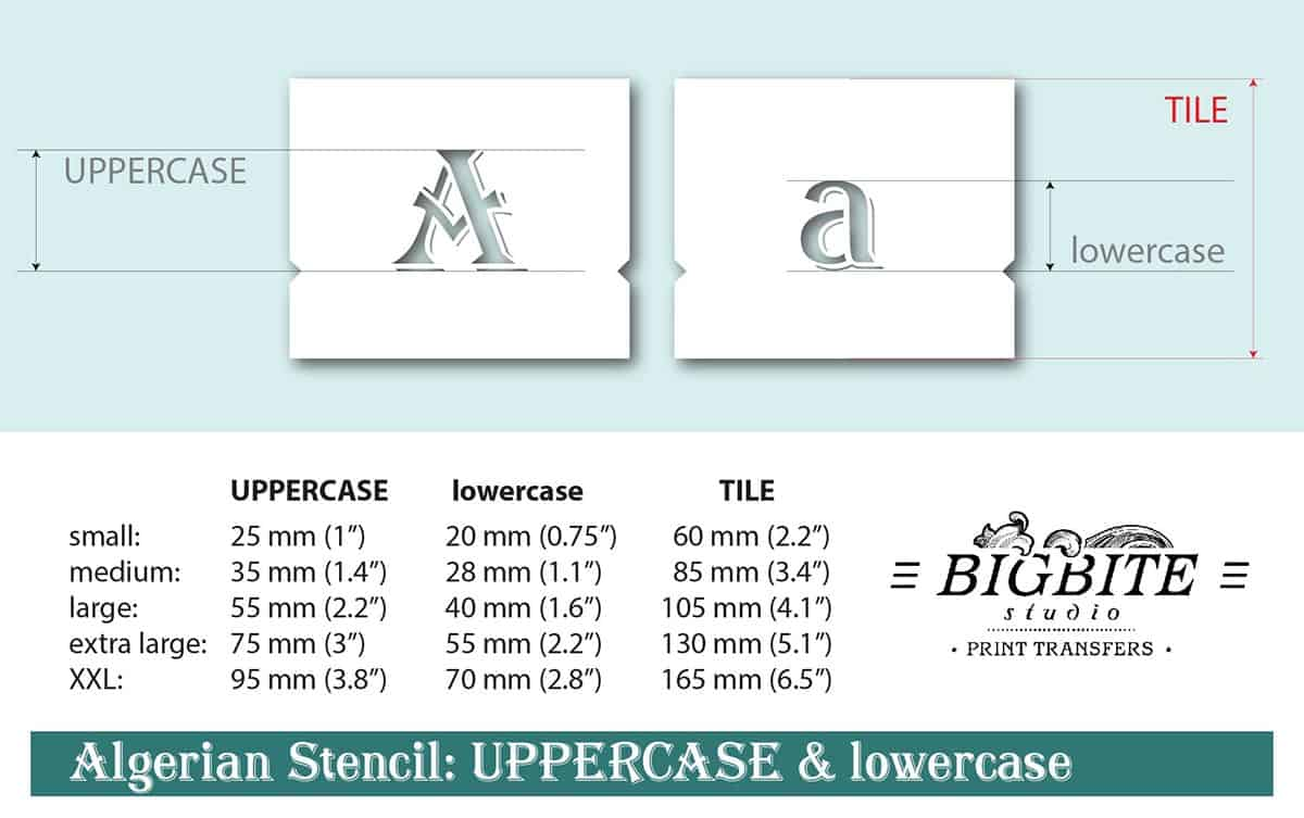 Algerian Stencil Font - lowercase and UPPERCASE Vintage Lettering - Sizes
