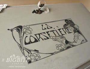 Art Deco Print Transfer - ''La Corsetiere'' Corset Maker Advert - preview bureau