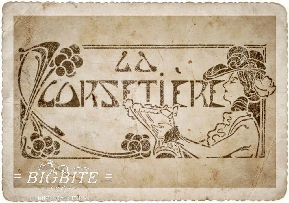 Art Deco Stencil: 'La Corsetiere' Corset Maker Advert - old paper preview