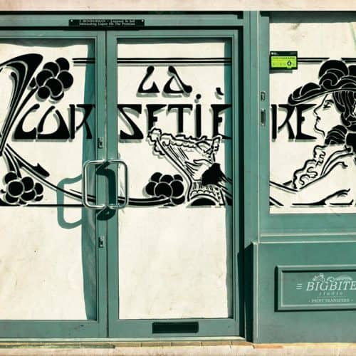 Art Deco Stencil: 'La Corsetiere' Corset Maker Advert - shop window