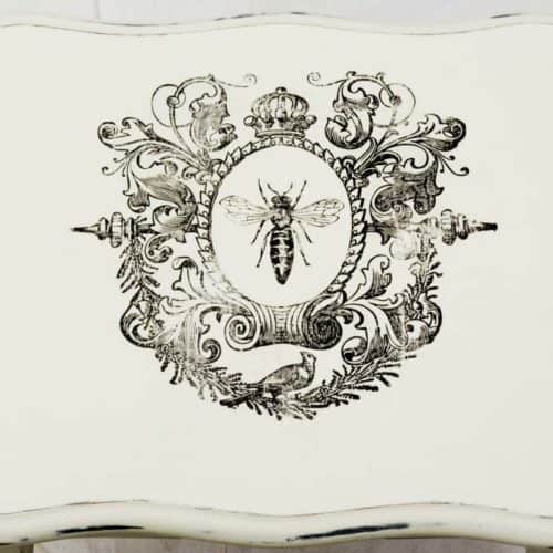 Example of our Blank Water Decal Paper Sheets Print Transfers in action - Shabby Chic nest of tables with French 'Queen Bee' transfer