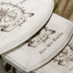 Example of our Blank Water Decal Paper Sheets Print Transfers in action - Shabby Chic nest of tables with sack of grain transfer