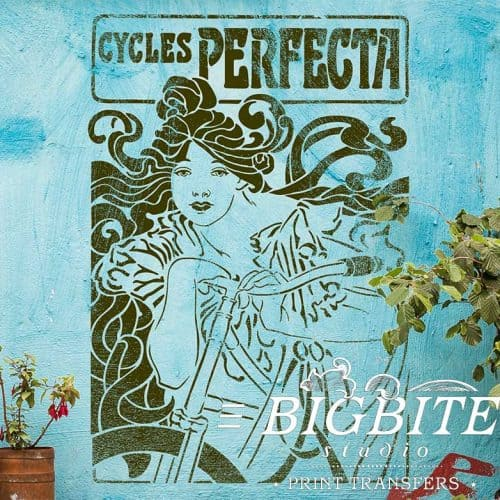 Art Nouveau Stencil - Cycles Perfecta Poster, preview stenciled on the blue wall.