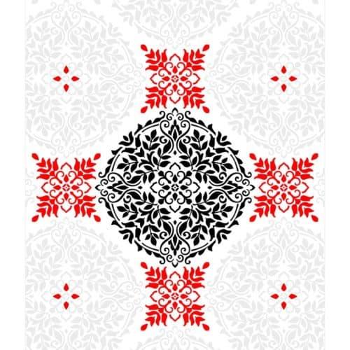 Registration Marks on Floral Mandala Stencil Pattern