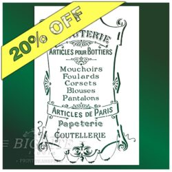 20 percent discount on French Stencil Articles de Paris - Clouterie Advert (main image)
