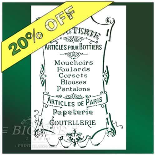 20 percent discount on French Stencil Articles de Paris - Clouterie Advert (main image)