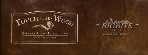 Screen printing:Touch the Wood logo
