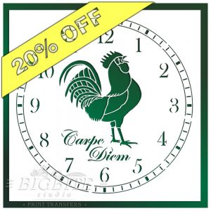 Rooster Clock Face Stencil #080