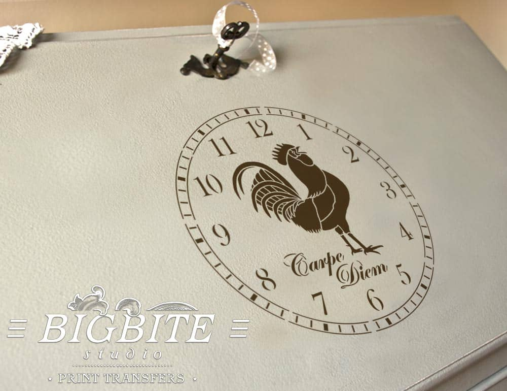 Previe of Rooster CLock Face Stencil (on a bureau slope)