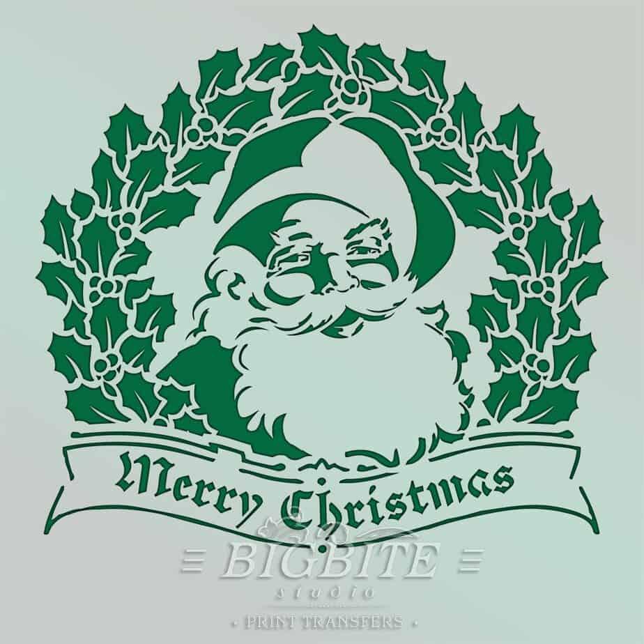 preview of shabby chic stencil merry christmas vintage santa