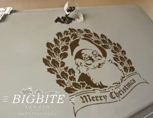preview on a bureau of shabby chic stencil merry christmas vintage santa