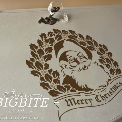 preview on a bureau of shabby chic stencil merry christmas vintage santa