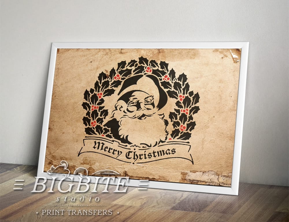 preview in a frame of shabby chic stencil merry christmas vintage santa