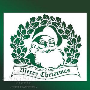 Shabby Chic Stencil – Merry Christmas Vintage Santa #059