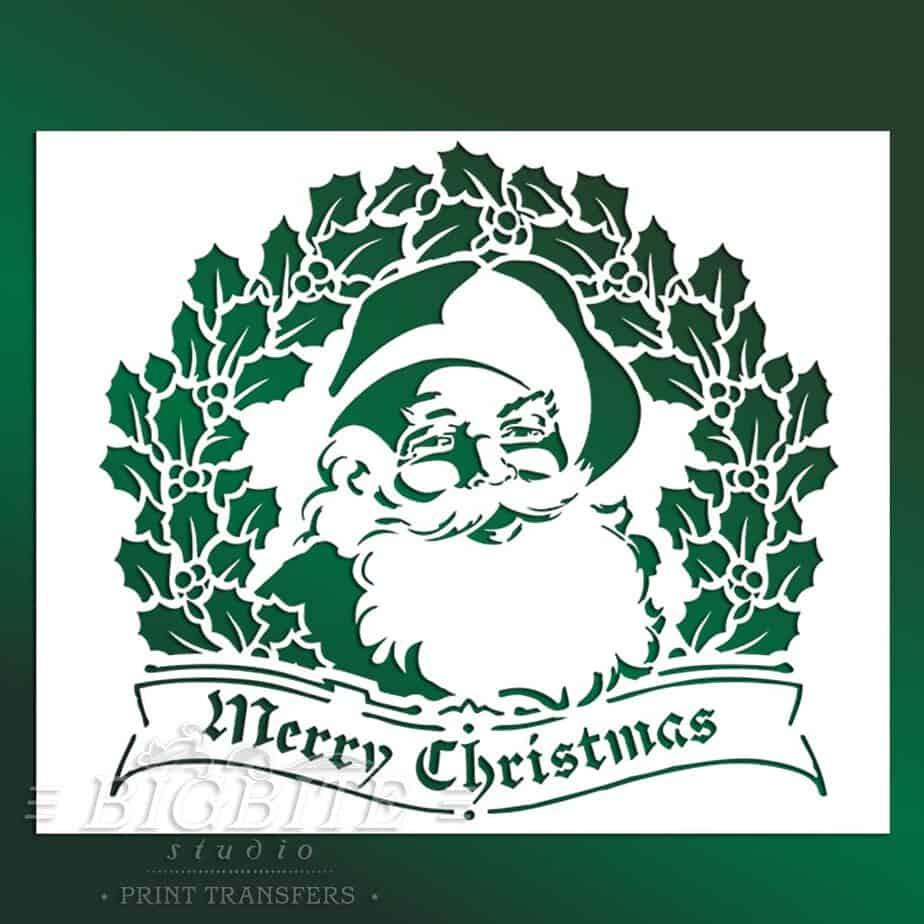 main preview of shabby chic stencil merry christmas vintage santa