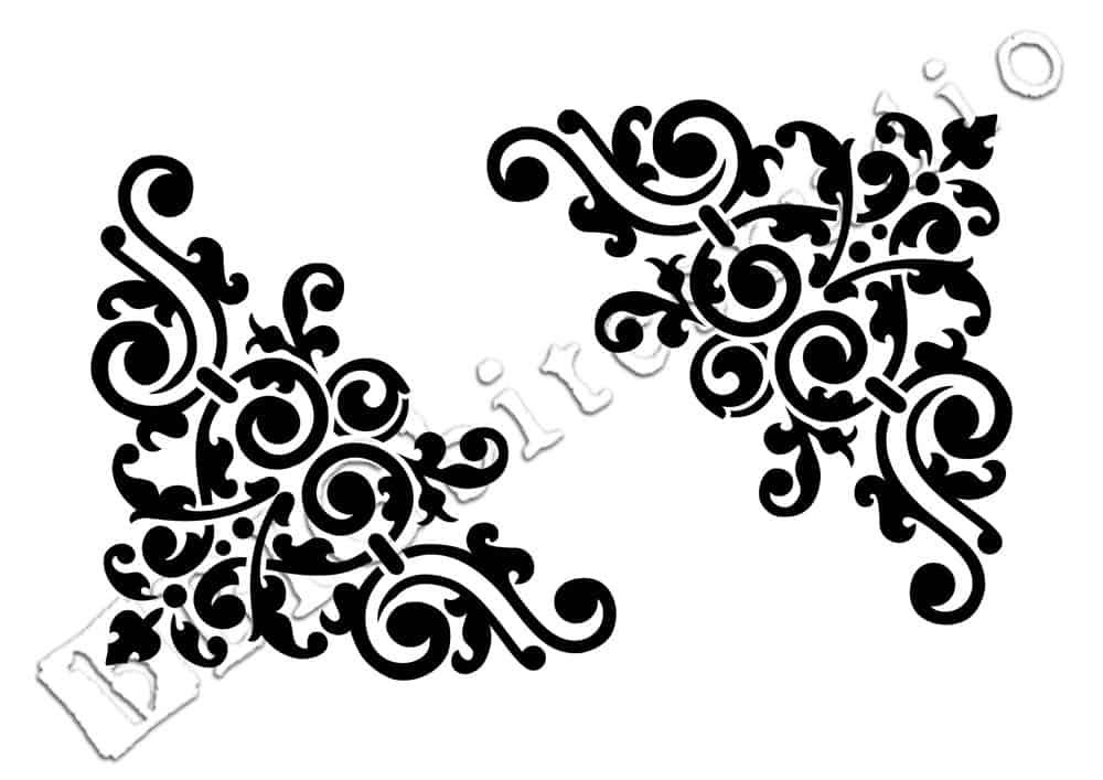 Shabby Chic Stencil U2013 Vintage Corner Scroll (Furniture Print Transfer) #040