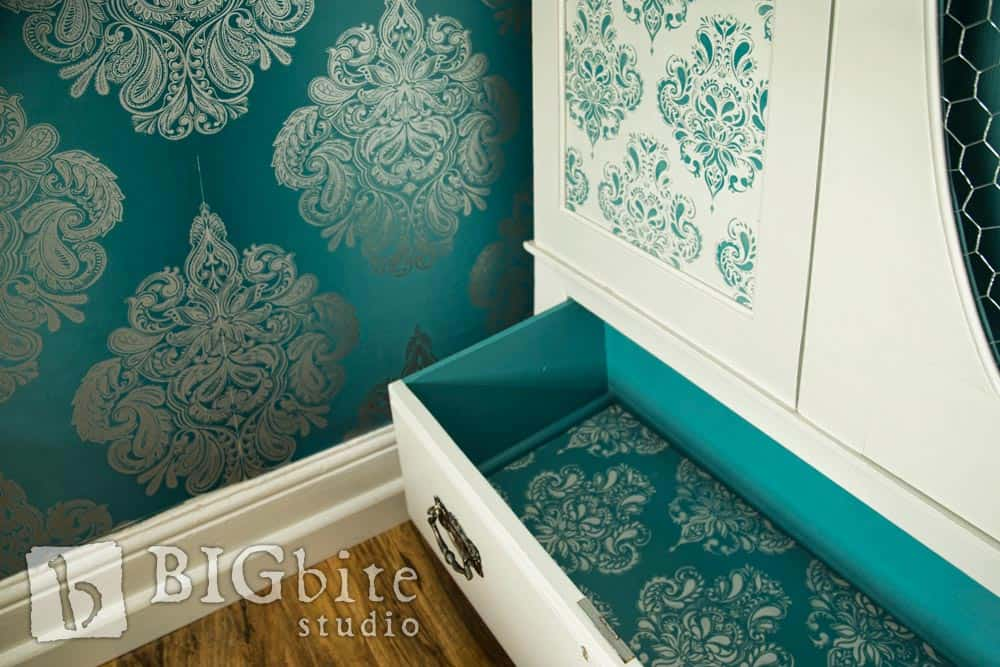 Shabby Chic Stencil Doodle Damask Wallpaper Pattern 044