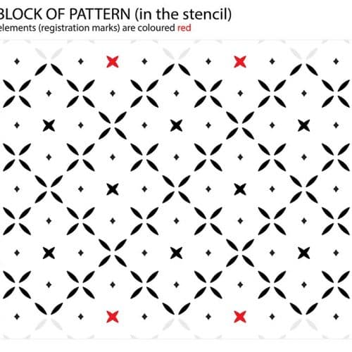 Simple Cross Pattern - Floral Stencil, registration marks in the stencil