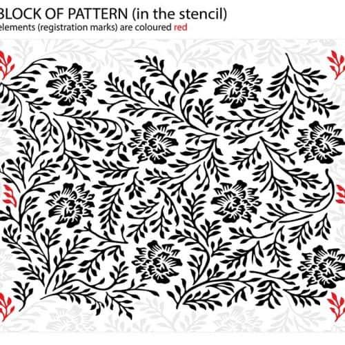 Twigs and Flowers Ornamental Pattern, Vintage Stencil - registration marks