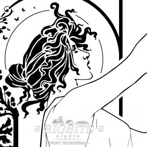 detail - head and afce of girl holding a cup on the vintage art deco absinthe robette advert