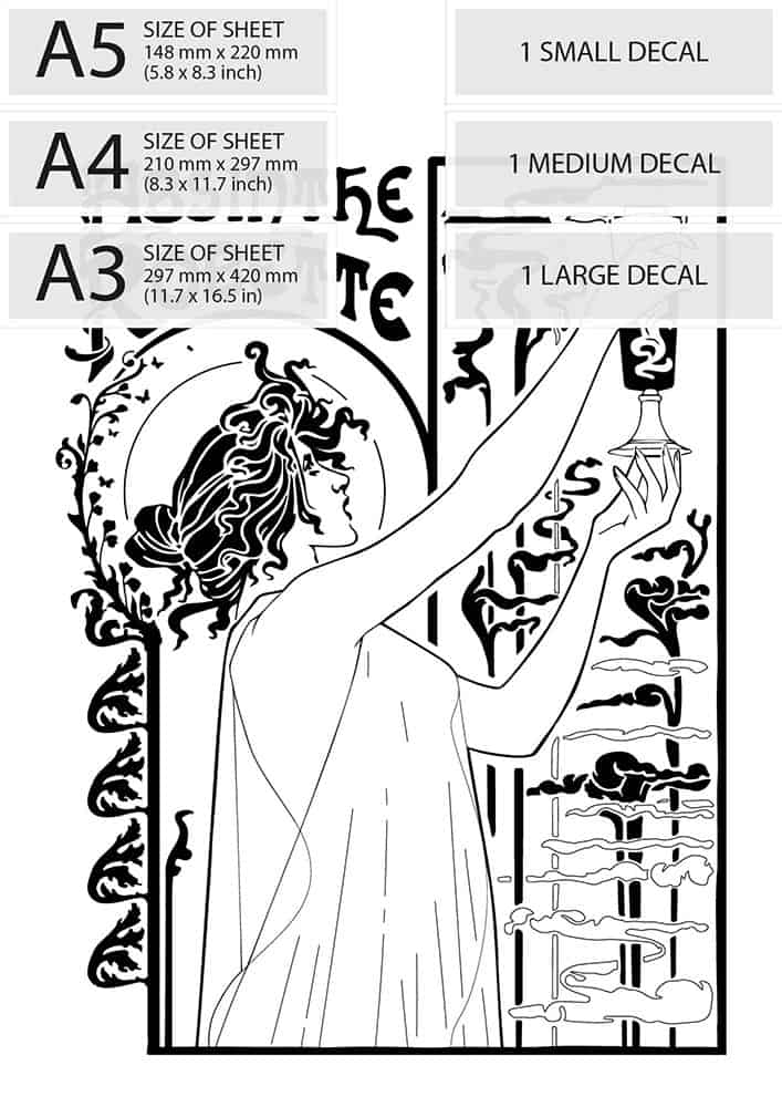 available sizes of vintage art deco water decal absinthe robette advert