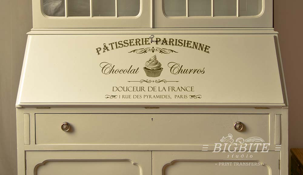 Preview on the bureau of VIntage French Water Decal - Patisserie Parisienne