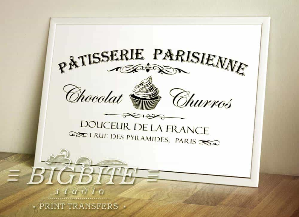VIntage French Water Decal - Patisserie Parisienne - preview in picture frame