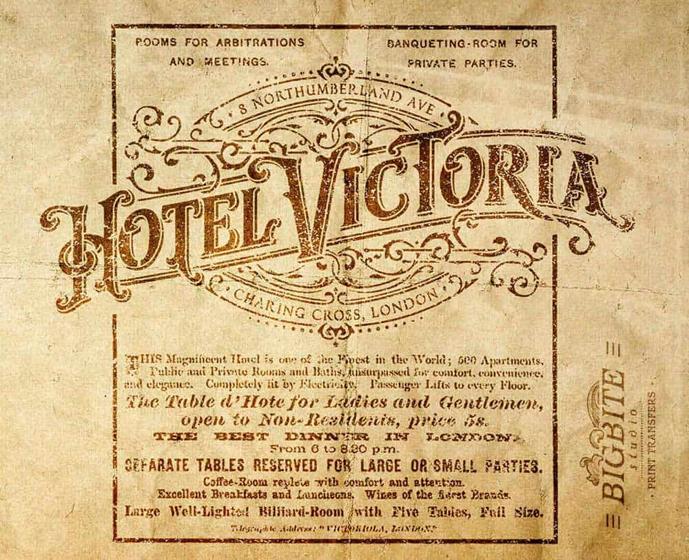 Vintage Hotel Victoria Stenciled Advert - newspaper ad