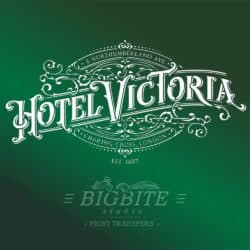 Vintage Hotel Victoria Stenciled Advert - green stencil preview