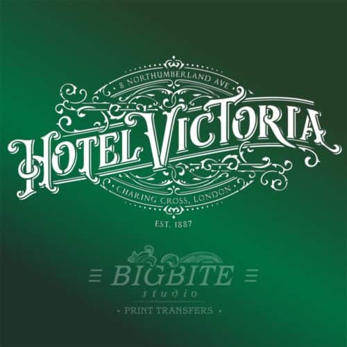 Vintage Hotel Victoria Stenciled Advert - green stencil preview