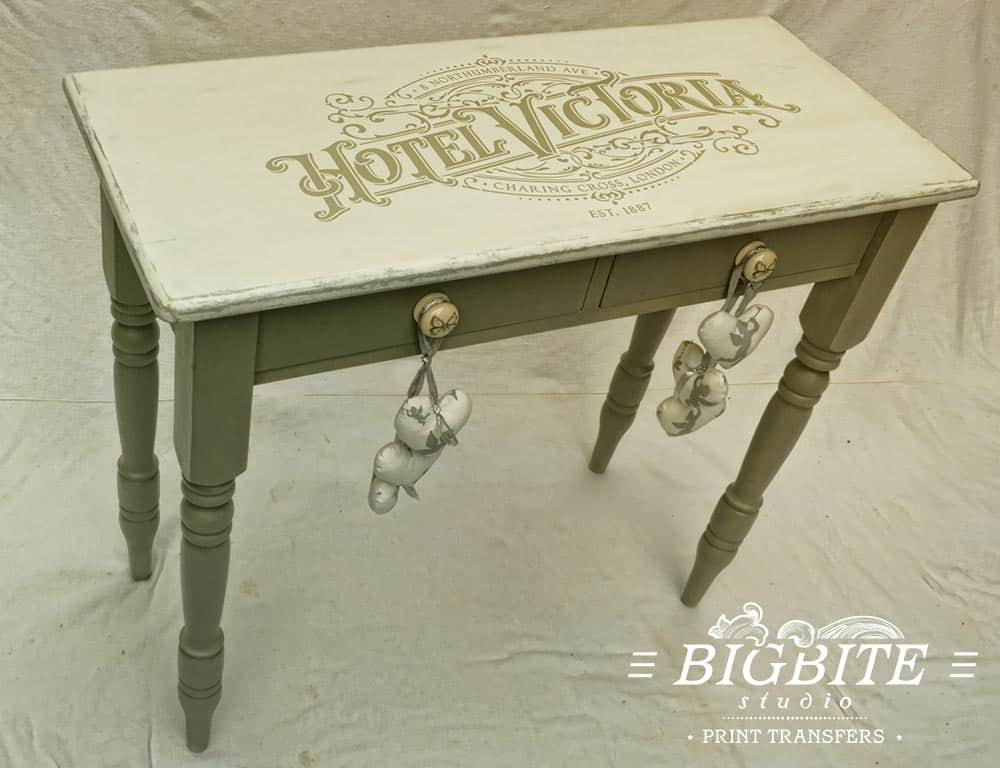 Vintage Hotel Victoria Stenciled Advert - table preview