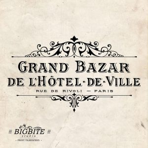 Water Decal Print Transfer – Vintage Hotel de Ville Grand Bazar Advert #062