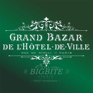 Shabby Chic Stencil: Vintage Hotel de Ville Grand Bazar Advert #062