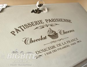 Preview on a bureau's slope of a Vintage stencil French Patisserie Advert