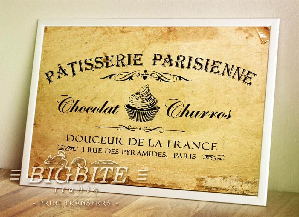 Preview in a picture frame of a Vintage stencil French Patisserie Advert