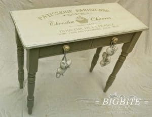 Preview on a table top of a Vintage stencil French Patisserie Advert