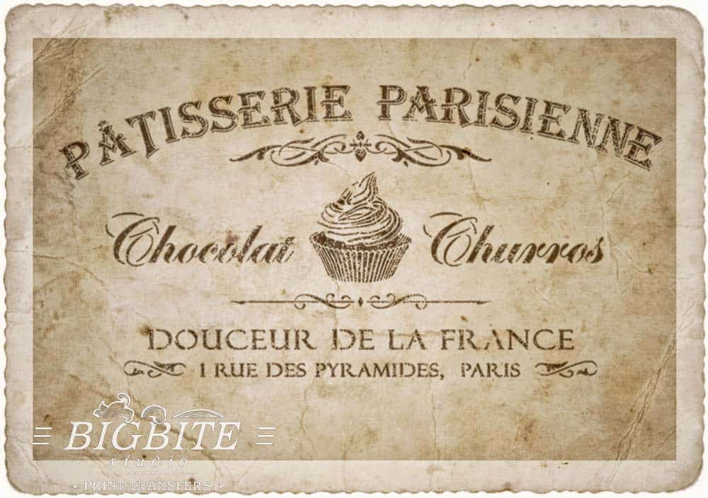 Preview on rotten paper of Vintage stencil French Patisserie Advert
