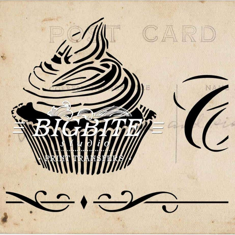Detail of Vintage stencil French Patisserie Advert