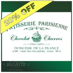 Offer of 20 percent discount on Vintage stencil French Patisserie Advert