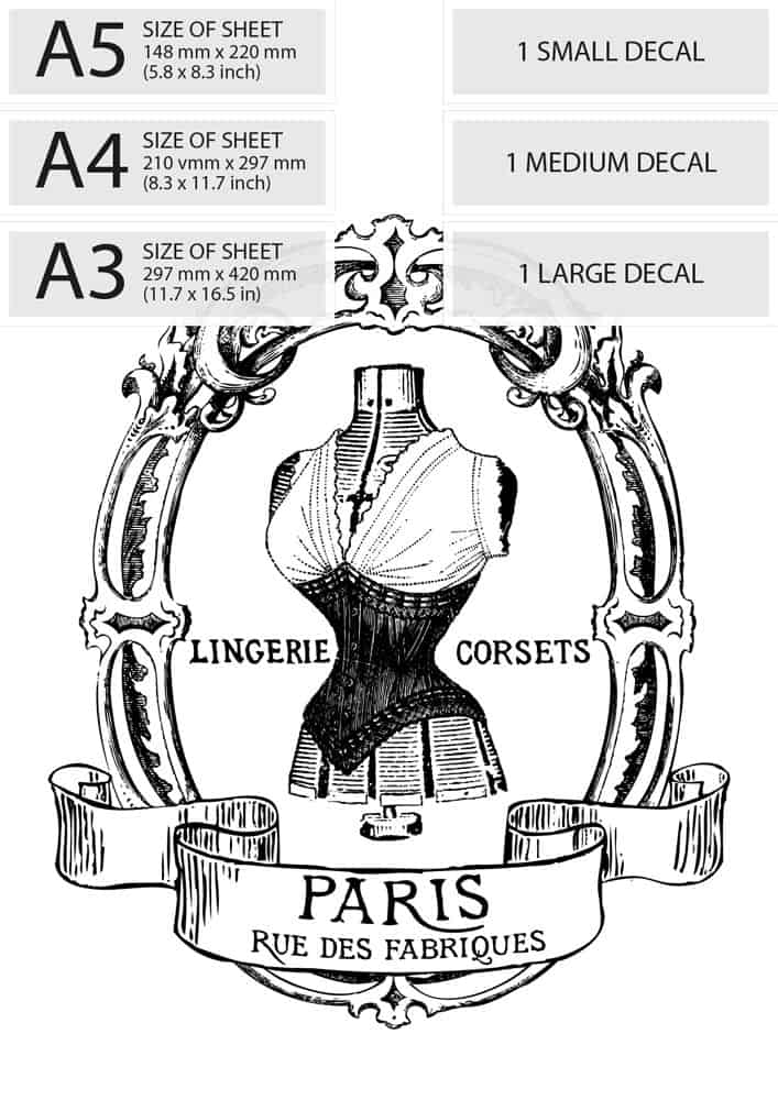 Water Decal Print Transfer – Vintage French Advert: Corset ...