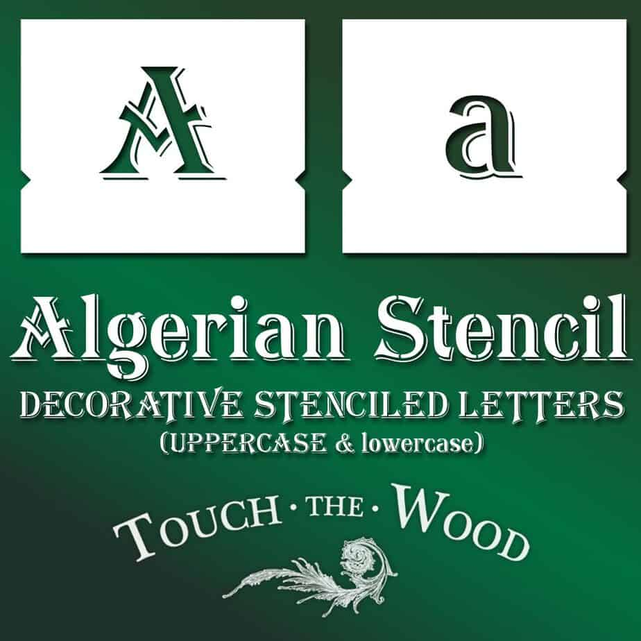 Algerian Stencil Font - lowercase and UPPERCASE Vintage Lettering #073