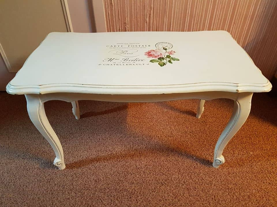 Customer's  Submission - Color Photo Print Transfer with Water Decal - shabby chic coffee table makeover